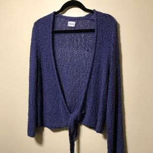 Chico's blue  tie at bottom cardigan